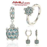 Sterling Silver Jewelry Sea Turtle Jewelry Sets Pave Authentic Australian Crystal Animal Fine Jewelry Brand Aimili