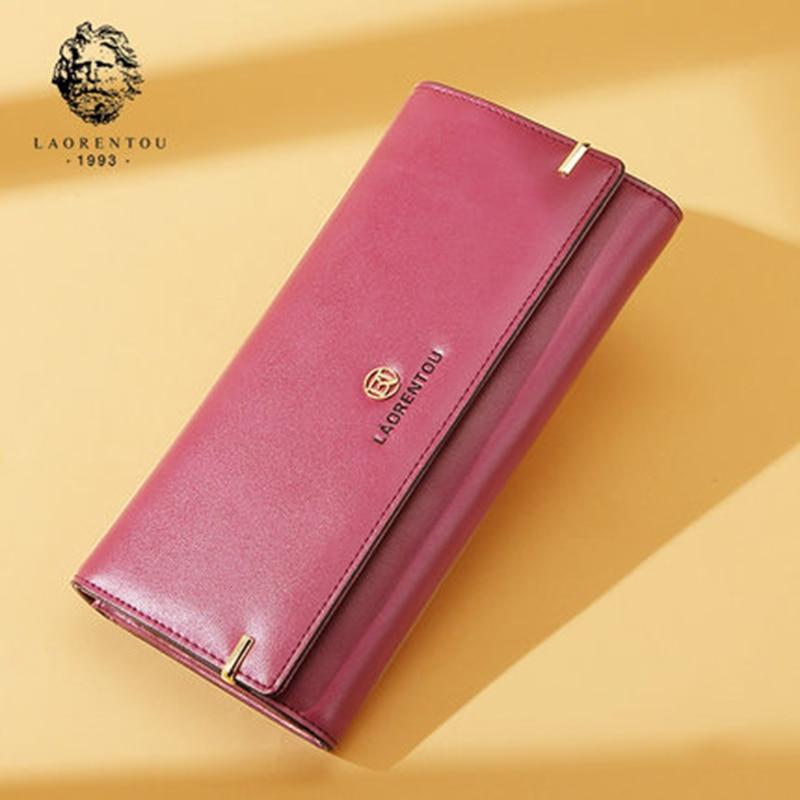 LAORENTOU Women Long Wallets Retro Split Leather Wallet 2017 New Fashion Lady Wallet Simple And Stylish Women Long Purse