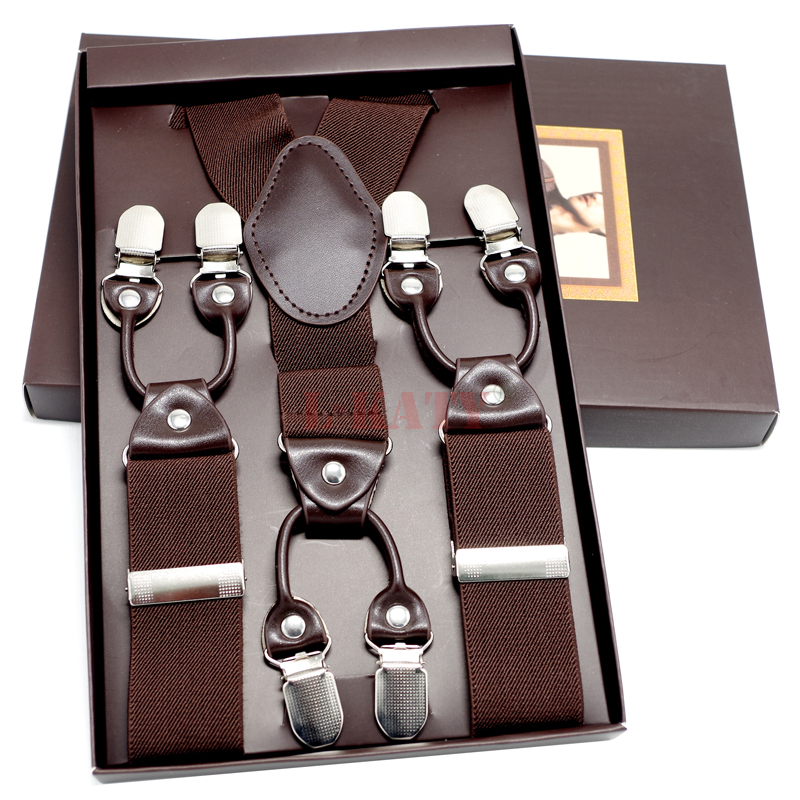 79ab77356 ... Home and garden Dark Brown Leather Male suspenders Belt 6clips western  style trousers elastic spaghetti strap Y back Shape Adult braces MBD8604.