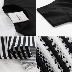 Image 5 - TWOTWINSTYLE 2020 Women Long Sleeve T Shirt Midi Dress Patchwork Stripe Mesh Ruffle Flare Asymmetrical Hem Pullover Casual
