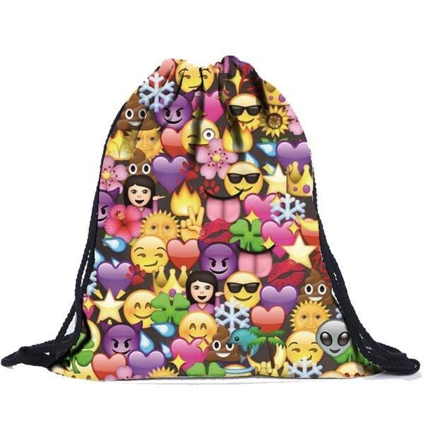 a9a52a3cbc 2018 Emoji Backpack New Fashion Women 3D Printing Travel Softback Women  Drawstring Bag Mens Backpacks Mochila  ND