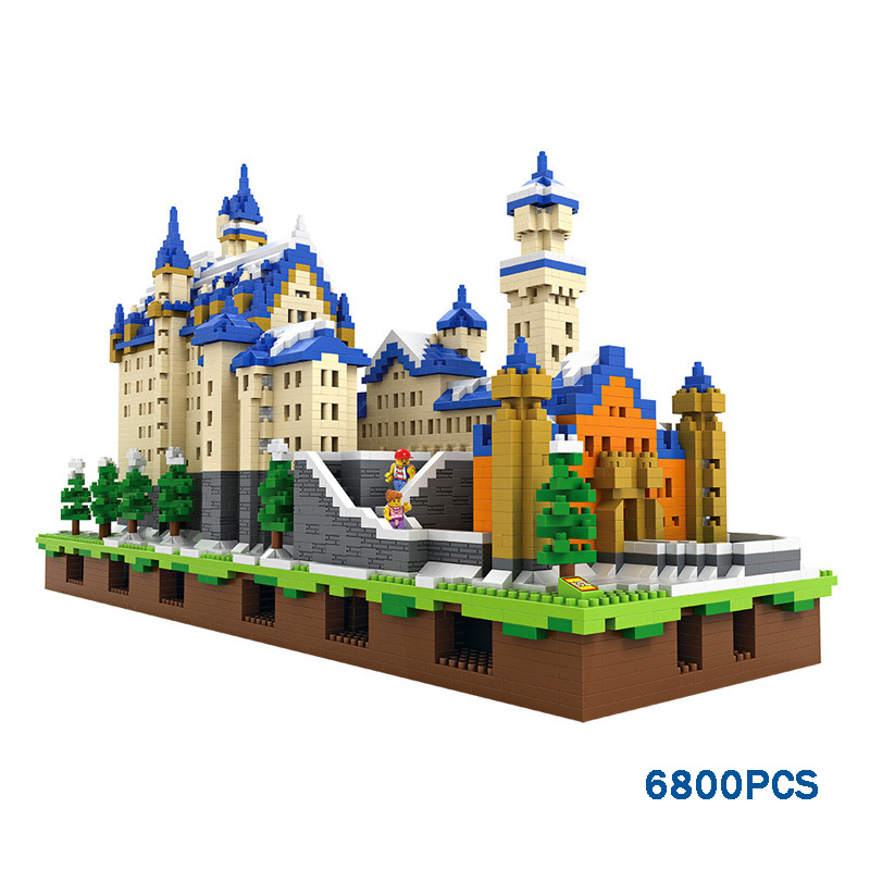 Loz mini diamond world famous architecture building block Schloss Neuschwanstein New Swan Stone Castle Germany nanoblock toys loz dc comics super heroes mini diamond building block batman
