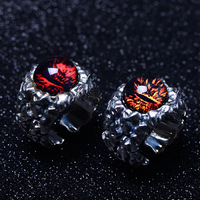 925 Sterling Silver Vintage Thai Retro Men Open Ring Devil Eyes Finger Punk Ring CH058856