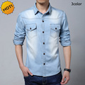 Fashion2016 Spring Autumn Cotton Mens Denim shirt Men Tops Vintage wash Water Cowboy Solid With pocket Long Sleeve Plus Size 5XL