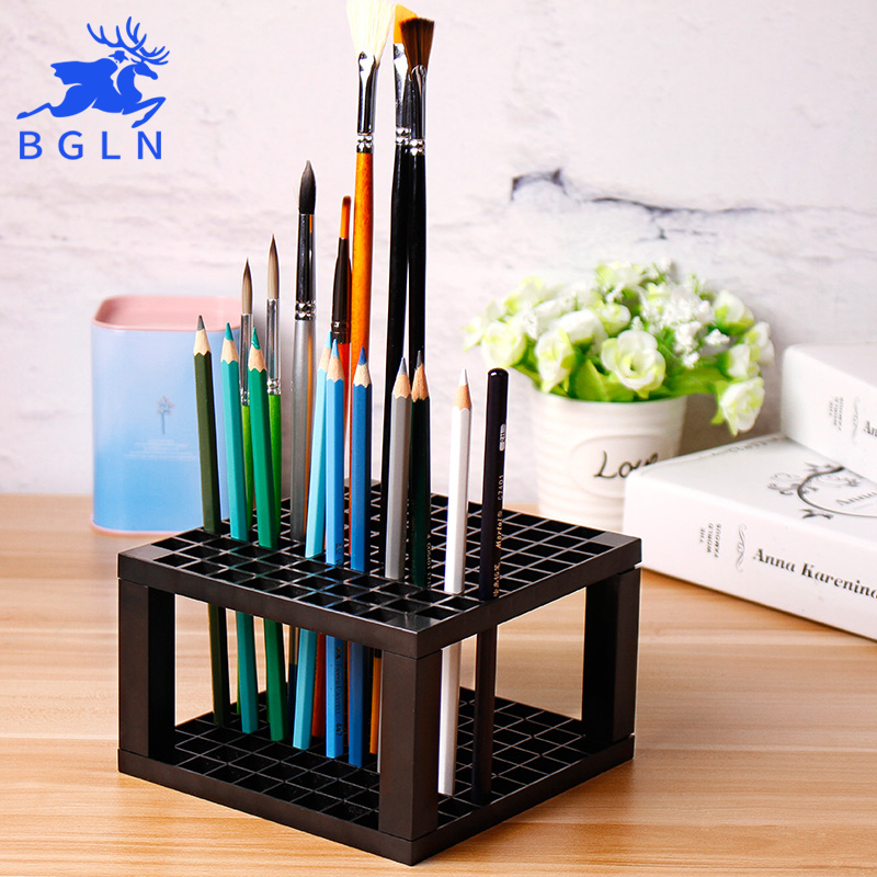 Bgln 96Holes Grey Penholder Painting Brush Pen Holder Rack Display Stand Support Holder Paint Brush For Drawing Art Supplies
