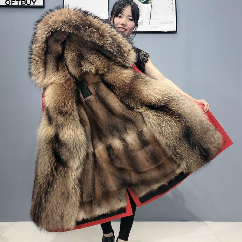OFTBUY Real Fur Coat Super Big Raccoon Fur Collar Hood Winter Jacket Women Parka Natural mink