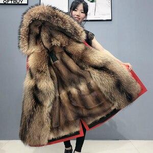 Image 1 - OFTBUY Echt Pelzmantel Super Große Waschbären Pelz Kragen Kapuze Winter Jacke Frauen Parka Natürliche nerz Liner Dicke Warme abnehmbare