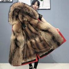 OFTBUY gerçek kürk ceket süper büyük rakun kürk yaka Hood kış ceket kadın Parka doğal vizon kürk astar kalın sıcak ayrılabilir