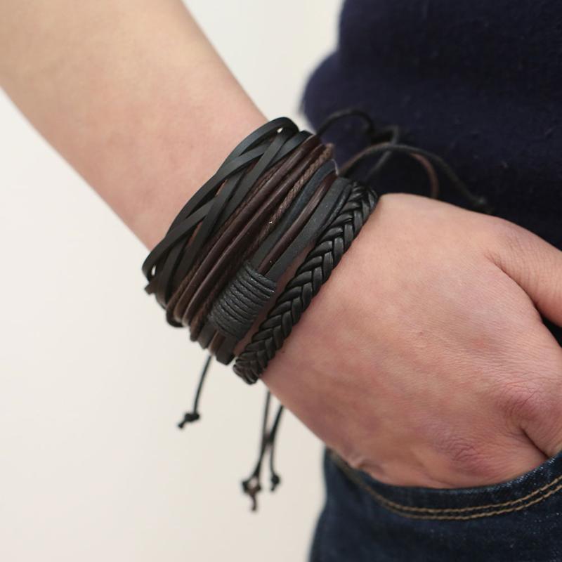 Цельный мужской кожаный браслет, 2020 Новый минималистичный стиль, многослойный браслет для женщин и мужчин, стильный браслет с Шармами