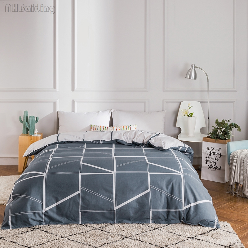 Simple Gray Plaid Bedding Set 1 Pc Duvet Cover 100% Cotton Material Quilt Cover with Zipper for Adult/Kids Twin Full Queen King