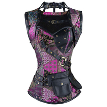 Corsé Steampunk retro de talla grande gótico retro de acero en espiral deshuesado corsé brocado corpiños y corsés con cinturón de bolsa