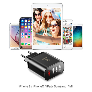 Image 5 - Baseus 3 Port USB Charger for iPhone XR Xs LED Display Phone Charger For Samsung S9 Wall Charger EU Adapter Mobile Phone Charger