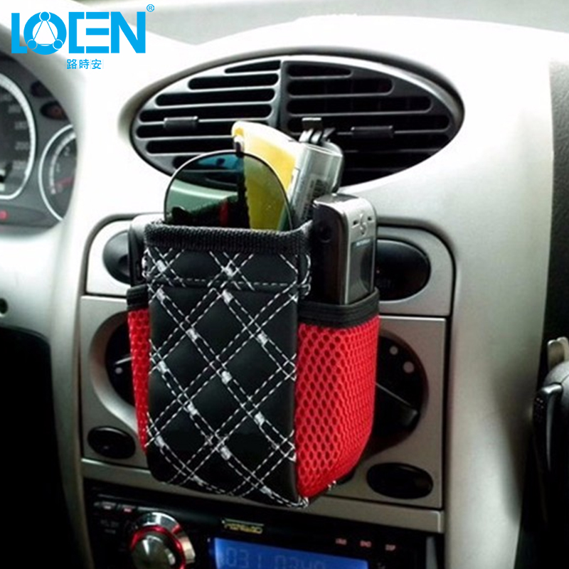 LOEN PU Leather Car Outlet Air Vent Storage Box  Auto Mobile Phone Holder Bag Stowing Tidying Automobiles Interior Accessories