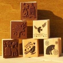 Купить с кэшбэком 6 different animal designs for chosen scrapbooking DIY Wooden rubber stamps free shipping