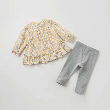 DBJ11490 dave bella spring autumn baby girls fashion rabbit floral clothing sets kids cute long sleeve sets children 2 pcs suit