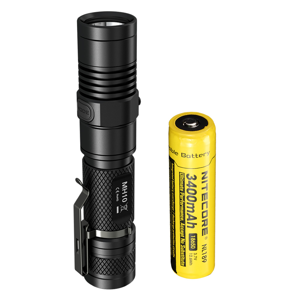 NITECORE MH10 1000lm U2 LED Outdoor Portable flashlight Tactical rechargeable USB charge With 3400mAh 18650battery Free shipping nitecore mh10 1000lm u2 led outdoor portable flashlight rechargeable usb charge kit with 2600mah battery free shipping