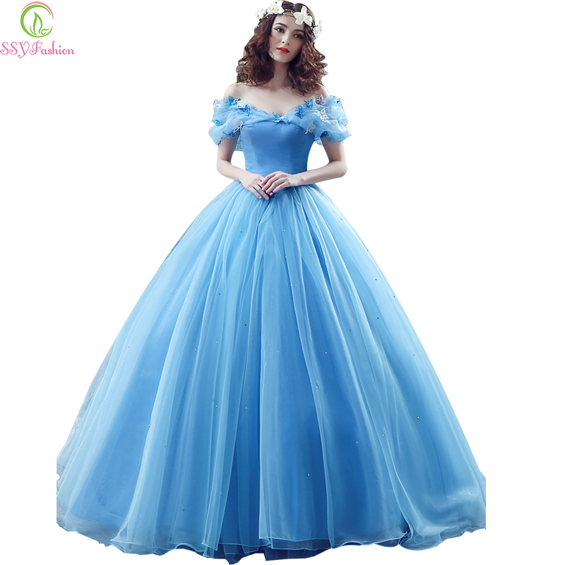 ssyfashion cinderella princess wedding dress romantic butterfly puff sleeve blue lace up ball. Black Bedroom Furniture Sets. Home Design Ideas