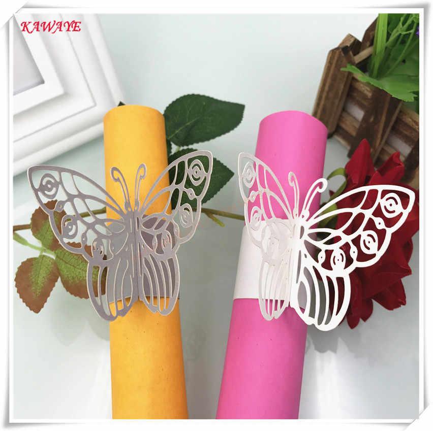 100 sztuk motyl papierowa serwetka pierścienie Wedding Party ręcznik klamra wystrój Baby Shower opakowania dekoracja stołu laserowo wycinane karty 6ZM03