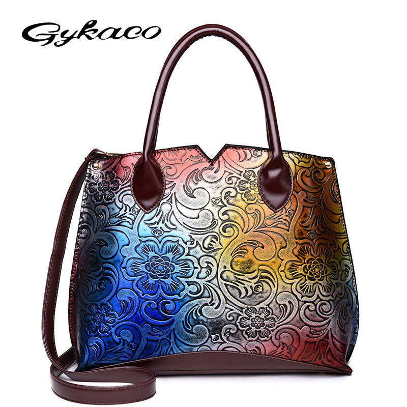 Gykaeo 2018 Spring Fashion Painting Embossed Women Handbag PU Leather Shoulder Bags Hand ...