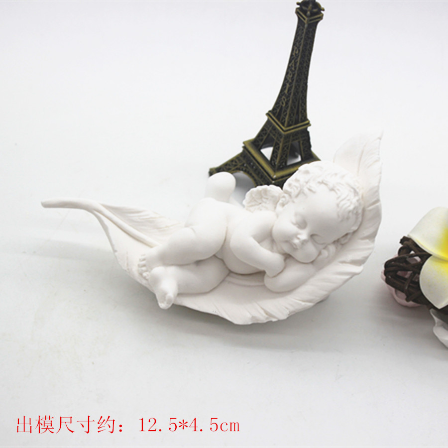 c1044 Feather angel aromatherapy gypsum silicone mould manual soap mold automobile tuyere in plaster cast.
