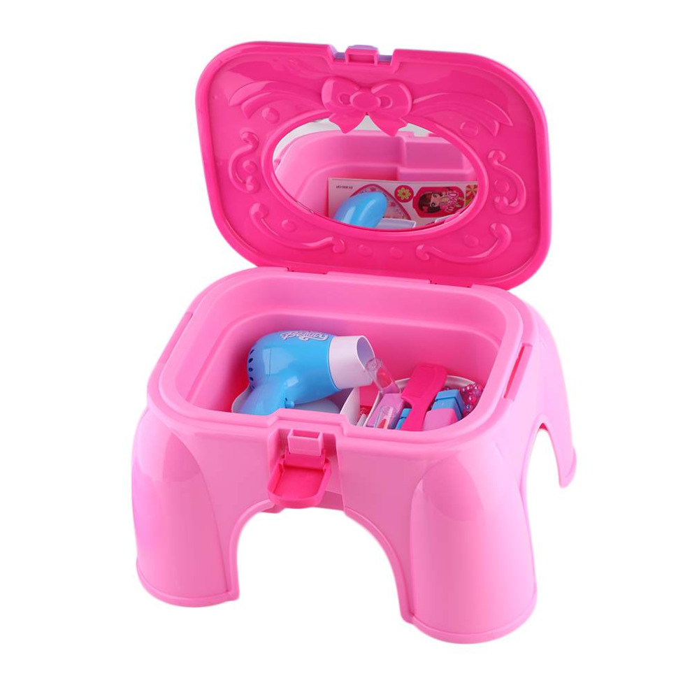 Hot! Portable Size Baby Girls Children Mini Chair Dresser Table Toys Educational Birthda ...
