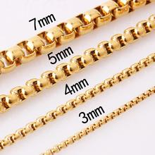 Fashion Gold Chains Necklace For Men Curb Cuban Jewelry Gifts 2/3/4/5/7mm Tone Unisex Jewels