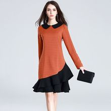 ae3d4e91f18 Marina Kaneva Women s resses Autumn New Fashion long-sleeved Elegant Slim  Kneed Dress Splice Casual