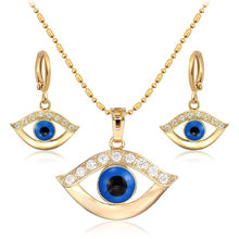 Yellow Gold Color Blue Evil Eyes Cluster CZ Statement Pendant Necklace Dangle Earrings Egypt Jewelry Sets Bijoux for Women(China)