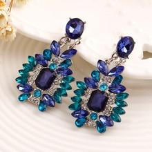 HOMOD New Design Bohemia Style Bijoux Crystal Flower Stud Earrings For Women Gift