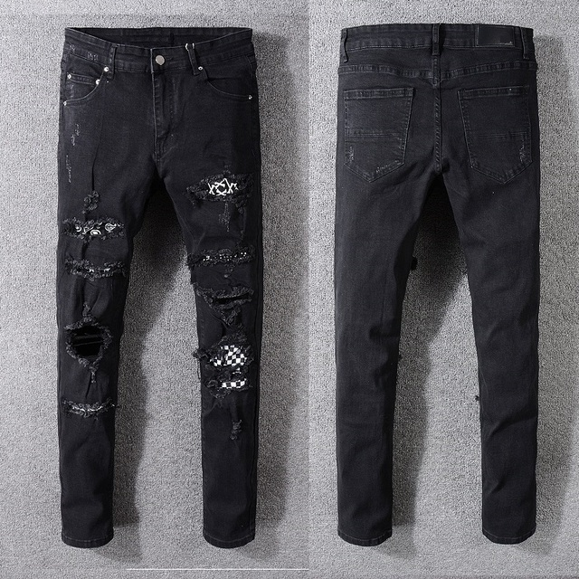 New Italy Style #538# Men's Distressed Destroyed Pants Art Crytals Patches Skinny Black Jeans Slim Trousers Size 29-40