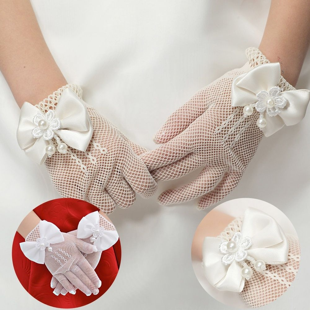 Girl's Accessories 1 Pair Hot Sale Party Supplies Cream Lace Pearl Fishnet Gloves Communion Flower Kids Girl Accessories Fashion Style Cheap Sales 50%