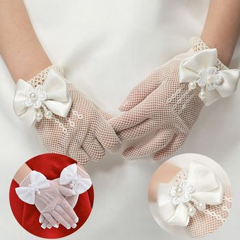 1 Pair Hot Sale Party Supplies Cream Lace Pearl Fishnet Gloves Communion Flower Kids Girl Accessories Fashion Style