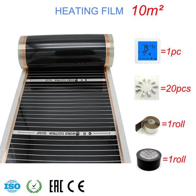 10M2 Carbon Folie Kits Elektrische Fußbodenheizung Film, Zimmer Digitaler Thermostat, Heizung Film Schellen