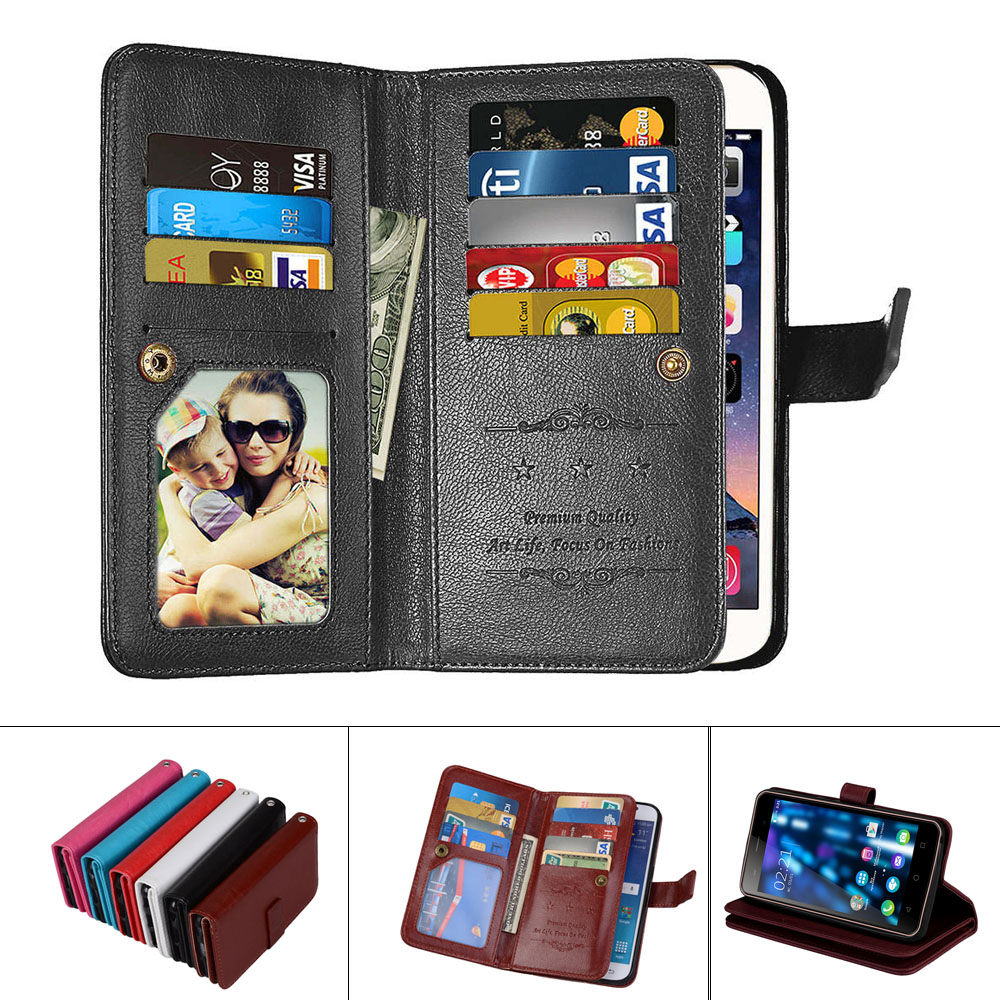 PU Leather Magnetic Durable 9 Cards Slots Flip Wallet Case For Sony Xperia Z3 Z4 Z5 Z6 Plus C3 C4 C5 E5 E6 M4 M5 For Xperia L1
