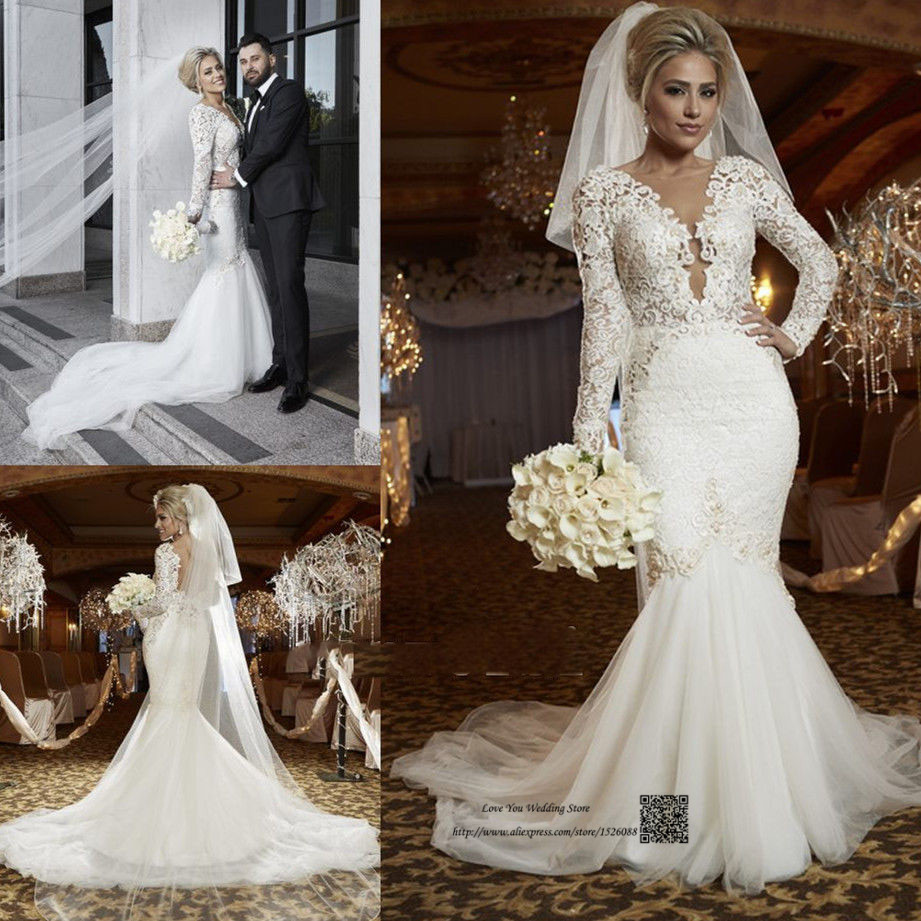 Sexy Russian Style Berta Wedding Dress Mermaid Long Sleeve