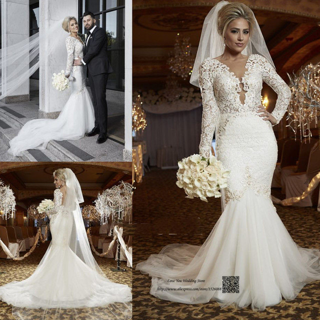 Mermaid Style Lace Wedding Gowns: Sexy Russian Style Berta Wedding Dress Mermaid Long Sleeve