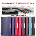 pu leather case for LG G PAD GPAD 7.0 V400/V410 7 inch tablet cover  folio stand smart  protective case +film+ stylus pen