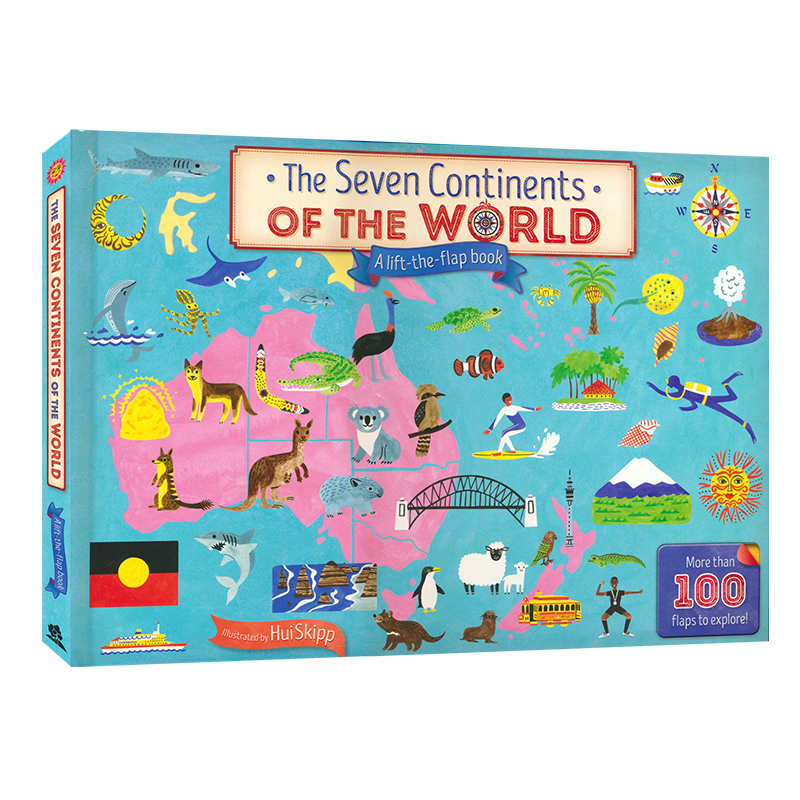 Britain English 3D Picture The Seven Continents Map Of The World Flap Board Book Children Kids Study Over 100 Flaps To Explore