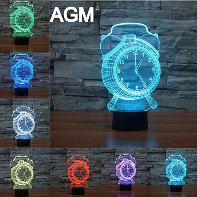Despertador dos desenhos animados 3D Luzes Da Noite candeeiro de Mesa de Toque Visual 3D 7 Cor RGB 3D LED Lâmpada de Cabeceira Para O Presente de Aniversário para Crianças presentes