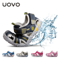 UOVO Children's Beach Sandals Boy & Girl's Breathable Non-Slip Soft Sole Shoes Hollow Casual Beach Shoes Sandalias 15.1-22.5 cm