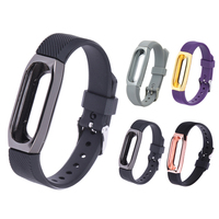 Silicone Smart Wristband Strap Bracelet Magnetic Clasp Loop Straps Bands Stainless Steel Frame Replacement for Xiaomi MI Band 2