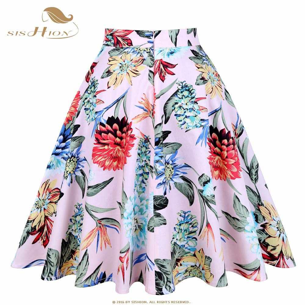 ... SISHION Design Floral Skirt Women High Waist Plus Size White Pink Green  Blue Ladies Summer Skirts ... 82a19234c074