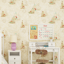 Modern Non-woven Wallpaper Blue Mediterranean Sailing Children's Room Green Bedroom Living Room Background Wallpapers цены