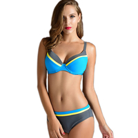 Patchwork Color Bikini Women Sexy Swimwear 2016 Lady Fashion Bathing Suits 2 Contrast Color European Woman