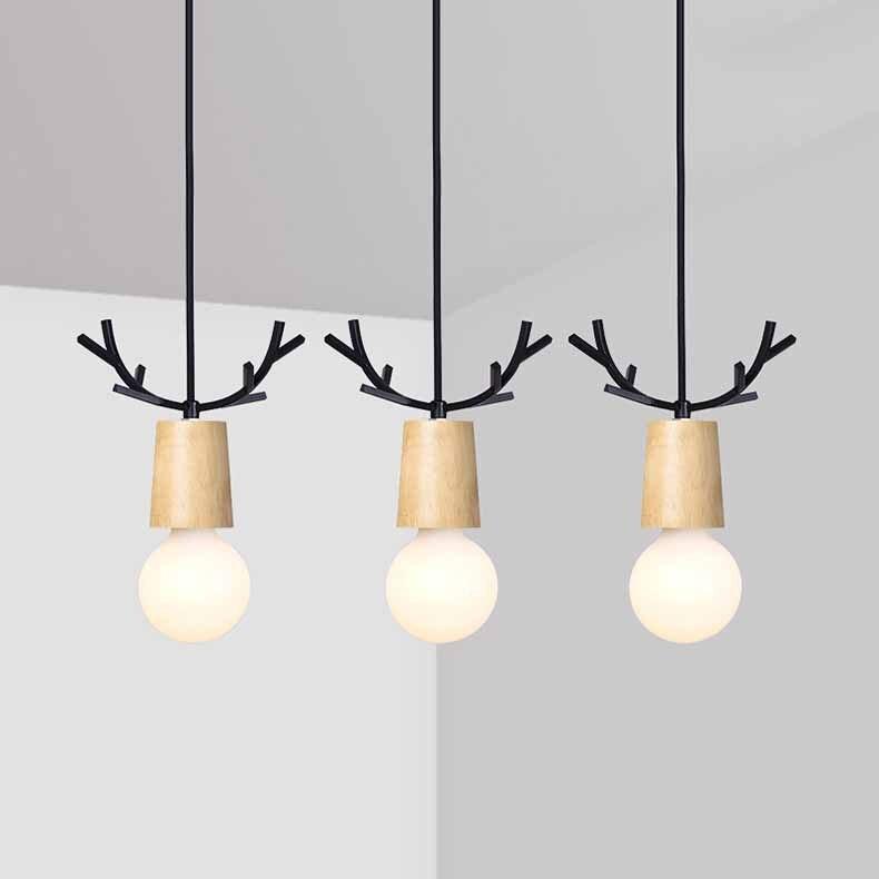 Nordic Antler Wood Pendant Lights Modern Northern American Art Decor Wrought Black Oak Pendant Lamp For Kids Dining Room Living (2)