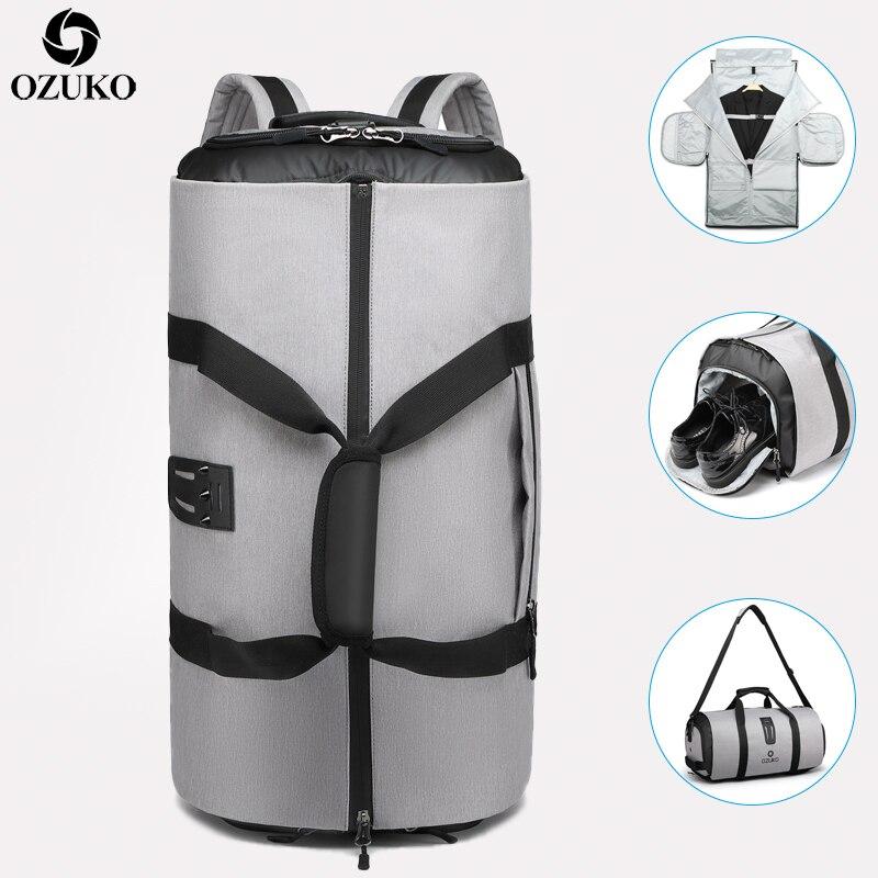 OZUKO sac à dos de voyage pour hommes costume stockage grande capacité voyage sac à main multifonction étanche voyage Mochila avec poche à chaussures