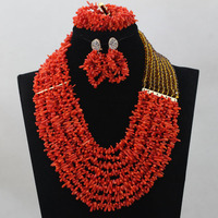 Charming Rose Red Mix Yellow Beads Set Coral Beads Jewelry Set African Costume Jewelry Wholesale Free Shippinghx211