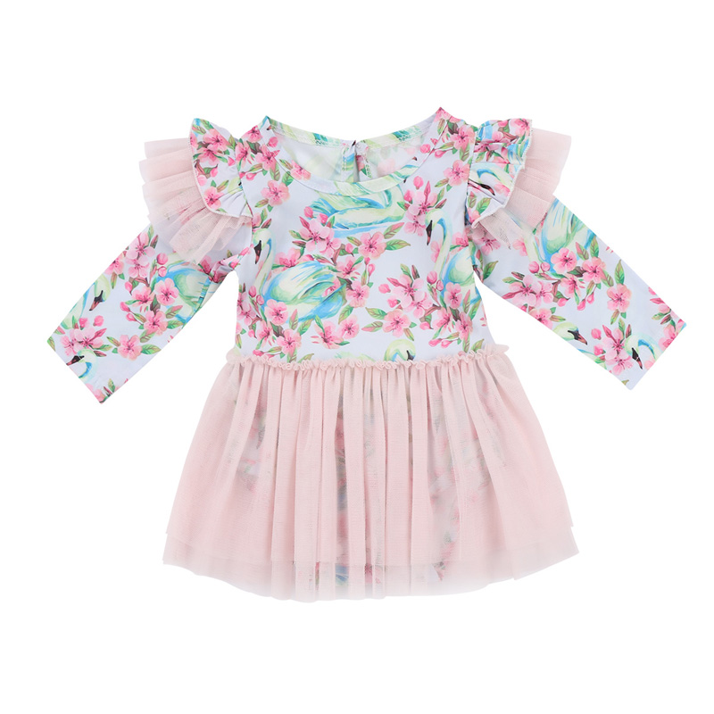 New Casual Toddler Baby Girls Kids Romper Dress Swan Floral Wedding bridesmaid Party Tutu Tulle Dresses