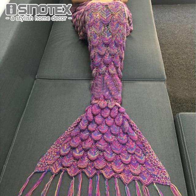 Mermaid Tail Blanket Handmade Yarn Knitted Crochet Mermaid Blanket