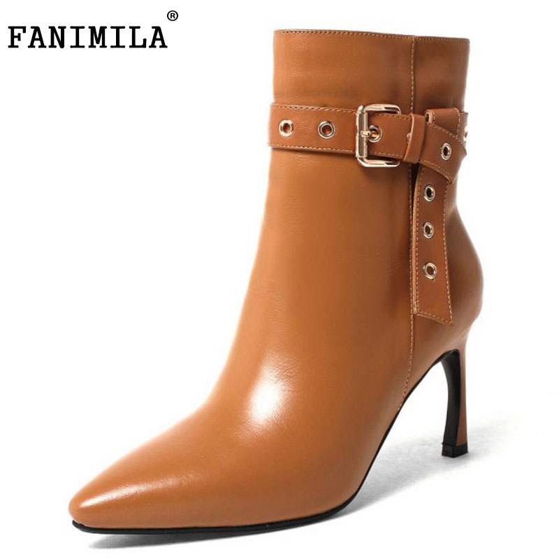 FANIMILA Size 33-43 Women Genuine Leather Mid Calf Boots Zipper Thin Heels Boots For Cold Winter Shoes Warm Botas Woman Footwear shiningthrough size 33 43 winter women boots thick high heels round toe platform shoes solid pu leather mid calf boots